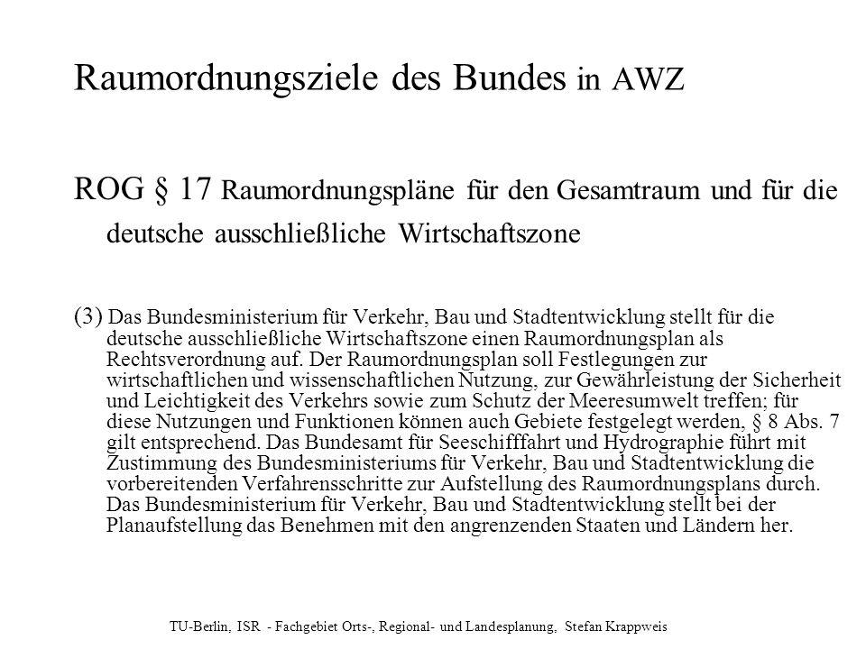 TU-Berlin, ISR - Fachgebiet Orts-, Regional- und Landesplanung, Stefan Krappweis Raumordnungsziele des Bundes in AWZ ROG § 17 Raumordnungspläne für de
