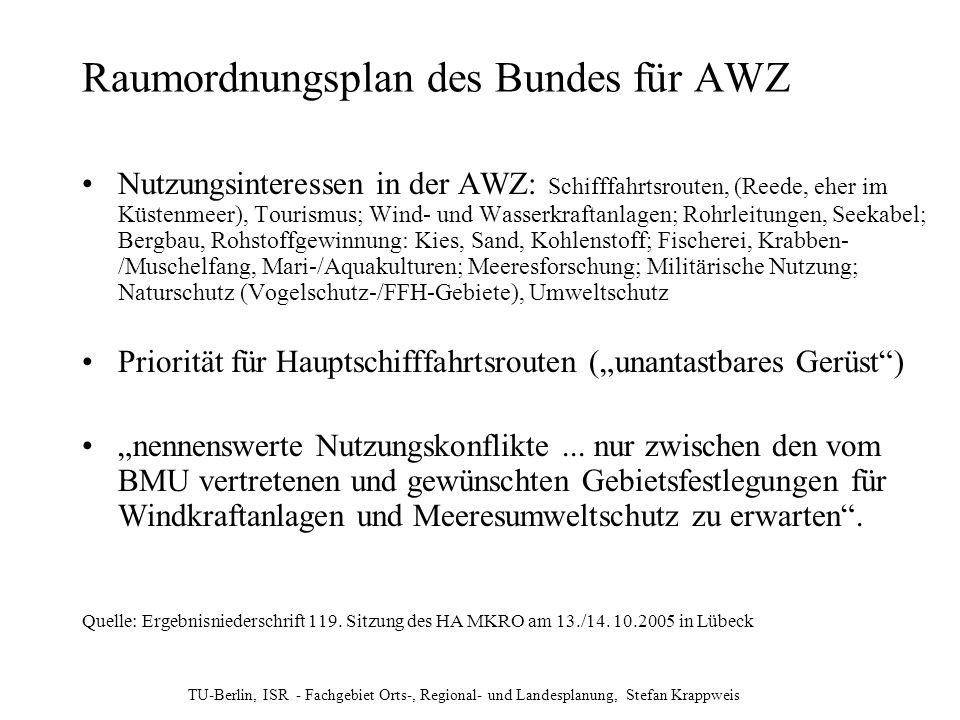 TU-Berlin, ISR - Fachgebiet Orts-, Regional- und Landesplanung, Stefan Krappweis Raumordnungsplan des Bundes für AWZ Nutzungsinteressen in der AWZ: Sc