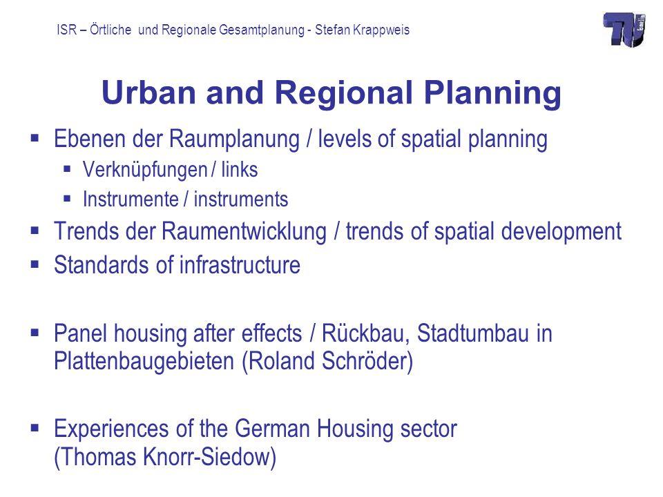 ISR – Örtliche und Regionale Gesamtplanung - Stefan Krappweis Level-Links entire area considers circumstances and requirements of partial areas partial area fit in the requirements of entire area
