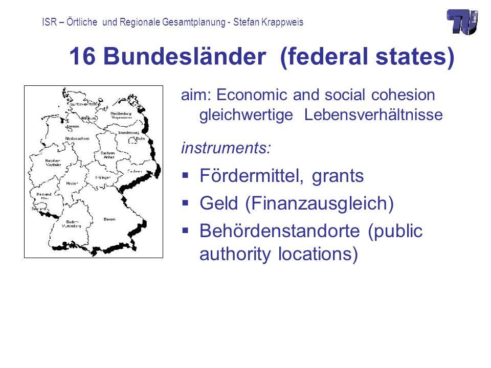 ISR – Örtliche und Regionale Gesamtplanung - Stefan Krappweis 16 Bundesländer (federal states) aim: Economic and social cohesion gleichwertige Lebensv