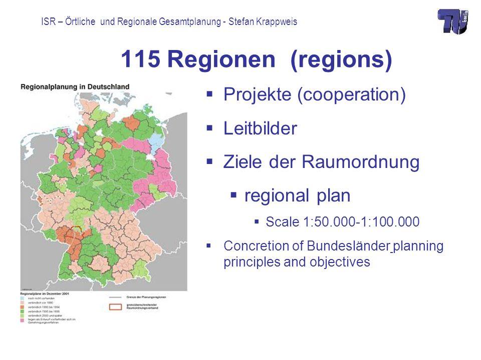 ISR – Örtliche und Regionale Gesamtplanung - Stefan Krappweis 115 Regionen (regions) Projekte (cooperation) Leitbilder Ziele der Raumordnung regional