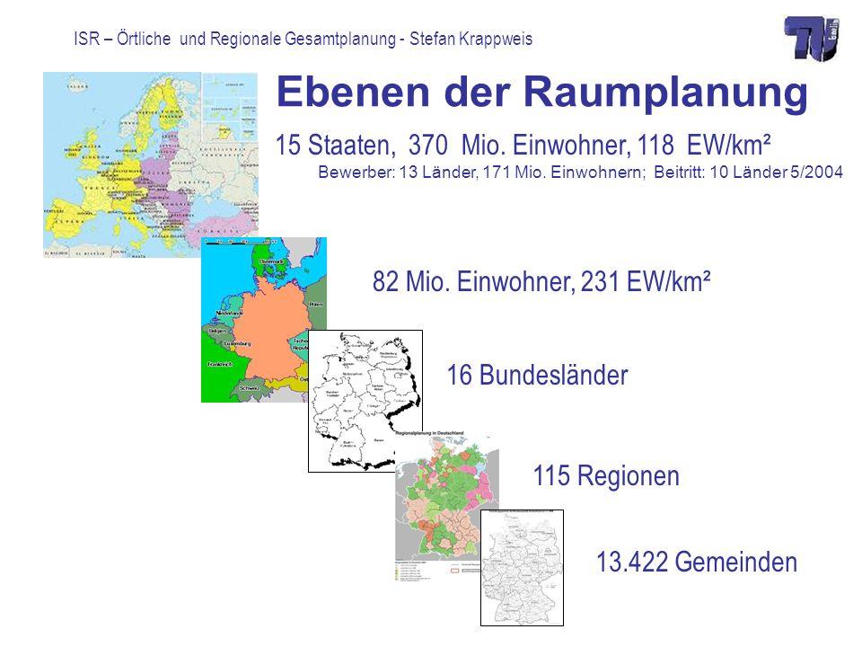 ISR – Örtliche und Regionale Gesamtplanung - Stefan Krappweis Richtwerte Gesundheit, Soziales Gesundheit Krankenhäuser: 690 Betten/100.000 EW: 70-80.000 EW, 30 Minuten Apotheke: 5.000-10.000 EW, Zahnarzt: 1/1.400 Einwohner; Hausarzt: 1/2.000 EW; Facharzt: 1/2.400 EW Soziales Kinderkrippe (0-3-Jährige): 7 Plätze/1000 EW Kindertagesstätte (3-6-Jährige): 33 Plätze/1000 EW Kinderhort (6-12-Jährige): 34 Plätze/1000 EW Kindergärten 2-10.000 EW, 10 qm nutzbare Spielfläche/Kind, 300 m Jugendraum (13-18-Jährige): 91 Plätze/1000 Jugendliche Altenhilfe: Pflegestufe (III, IV): 4 Plätze/1.000 EW; Betreuung (Stufe I, II): 2 Plätze/1.000 EW) Altenwohnheime 15-63.000 EW, 0,45-0,53 qm/EW, 300-400 m zu ÖPNV http://www.tu-bs.de/~schroete/index.html