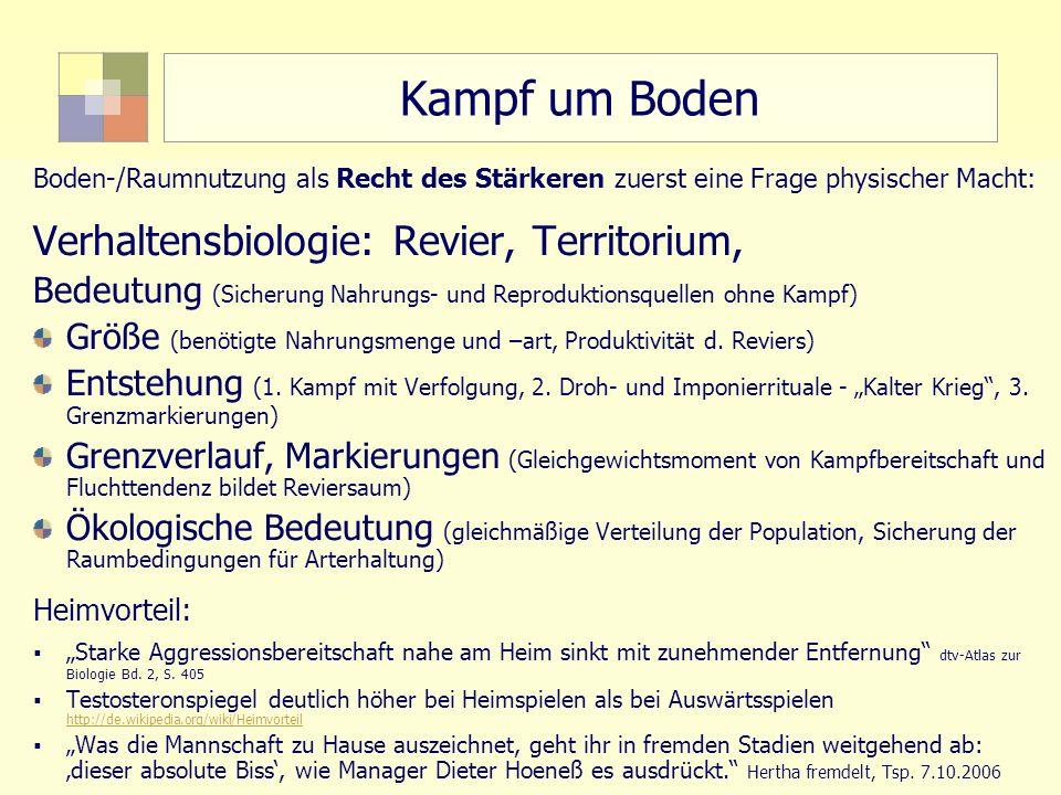 10 TU Berlin, ISR SoSe 2004 Bodennutzungsplanung II Kampf um Boden Boden-/Raumnutzung als Recht des Stärkeren zuerst eine Frage physischer Macht: Verh