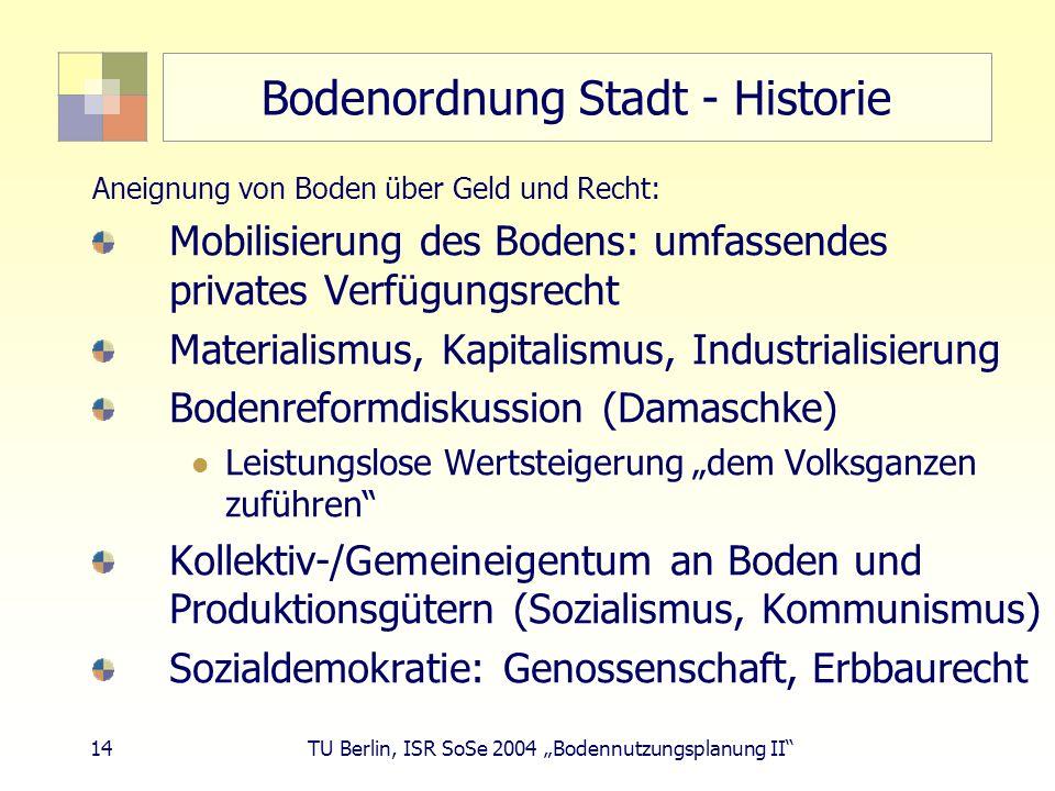 14 TU Berlin, ISR SoSe 2004 Bodennutzungsplanung II Bodenordnung Stadt - Historie Aneignung von Boden über Geld und Recht: Mobilisierung des Bodens: u