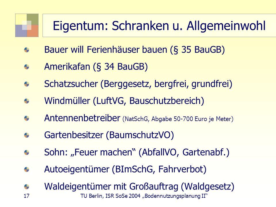 17 TU Berlin, ISR SoSe 2004 Bodennutzungsplanung II Eigentum: Schranken u. Allgemeinwohl Bauer will Ferienhäuser bauen (§ 35 BauGB) Amerikafan (§ 34 B