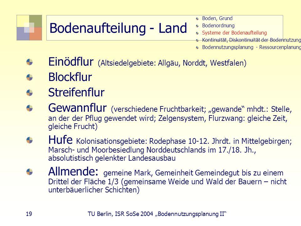 19 TU Berlin, ISR SoSe 2004 Bodennutzungsplanung II Bodenaufteilung - Land Einödflur (Altsiedelgebiete: Allgäu, Norddt, Westfalen) Blockflur Streifenf