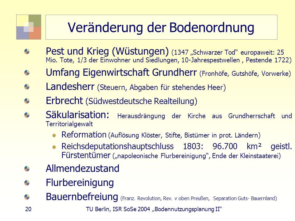 20 TU Berlin, ISR SoSe 2004 Bodennutzungsplanung II Veränderung der Bodenordnung Pest und Krieg (Wüstungen) (1347 Schwarzer Tod europaweit: 25 Mio. To