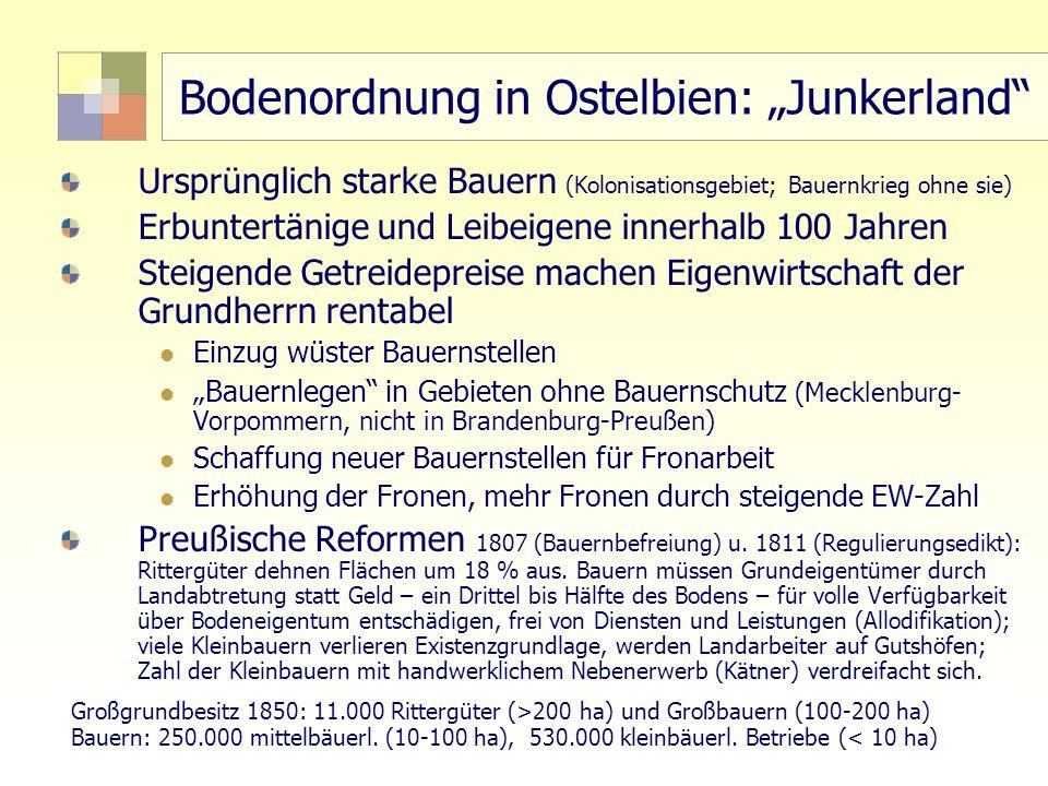 22 TU Berlin, ISR SoSe 2004 Bodennutzungsplanung II Bodenordnung in Ostelbien: Junkerland Ursprünglich starke Bauern (Kolonisationsgebiet; Bauernkrieg