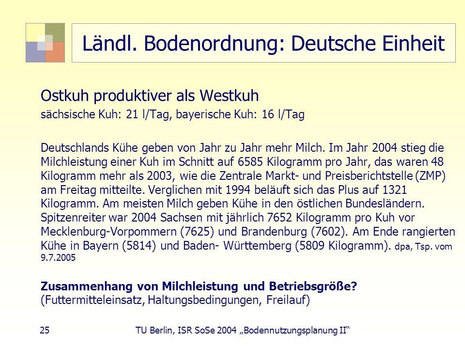 25 TU Berlin, ISR SoSe 2004 Bodennutzungsplanung II Ländl. Bodenordnung: Deutsche Einheit Ostkuh produktiver als Westkuh sächsische Kuh: 21 l/Tag, bay