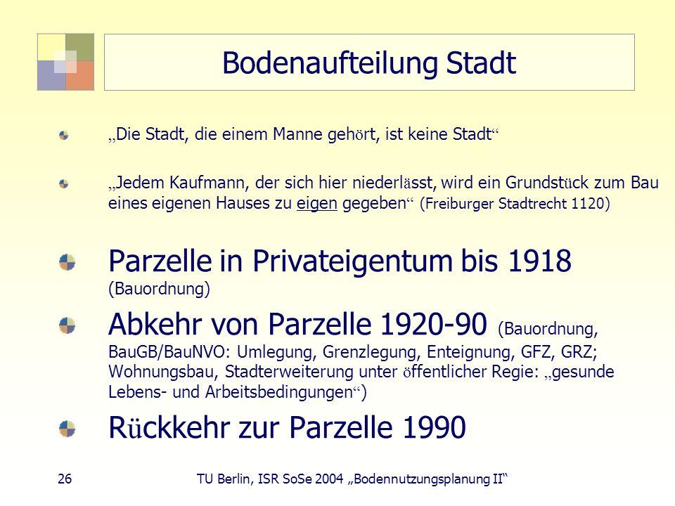 26 TU Berlin, ISR SoSe 2004 Bodennutzungsplanung II Bodenaufteilung Stadt Die Stadt, die einem Manne geh ö rt, ist keine Stadt Jedem Kaufmann, der sic