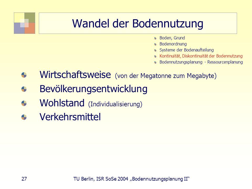 27 TU Berlin, ISR SoSe 2004 Bodennutzungsplanung II Wandel der Bodennutzung Wirtschaftsweise (von der Megatonne zum Megabyte) Bevölkerungsentwicklung