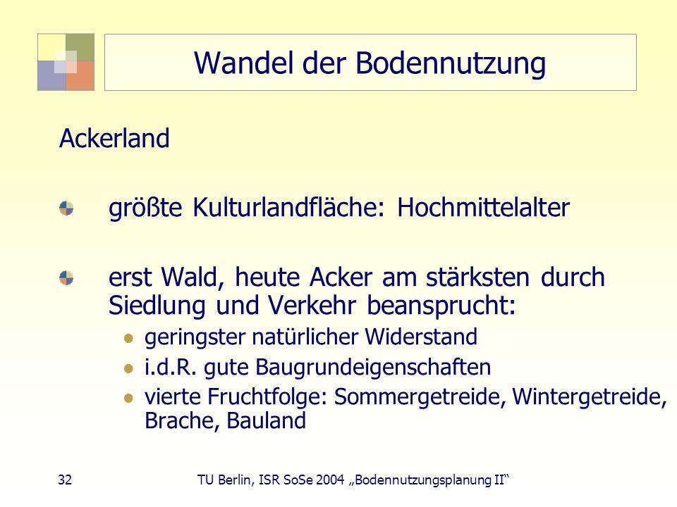 32 TU Berlin, ISR SoSe 2004 Bodennutzungsplanung II Wandel der Bodennutzung Ackerland größte Kulturlandfläche: Hochmittelalter erst Wald, heute Acker am stärksten durch Siedlung und Verkehr beansprucht: geringster natürlicher Widerstand i.d.R.