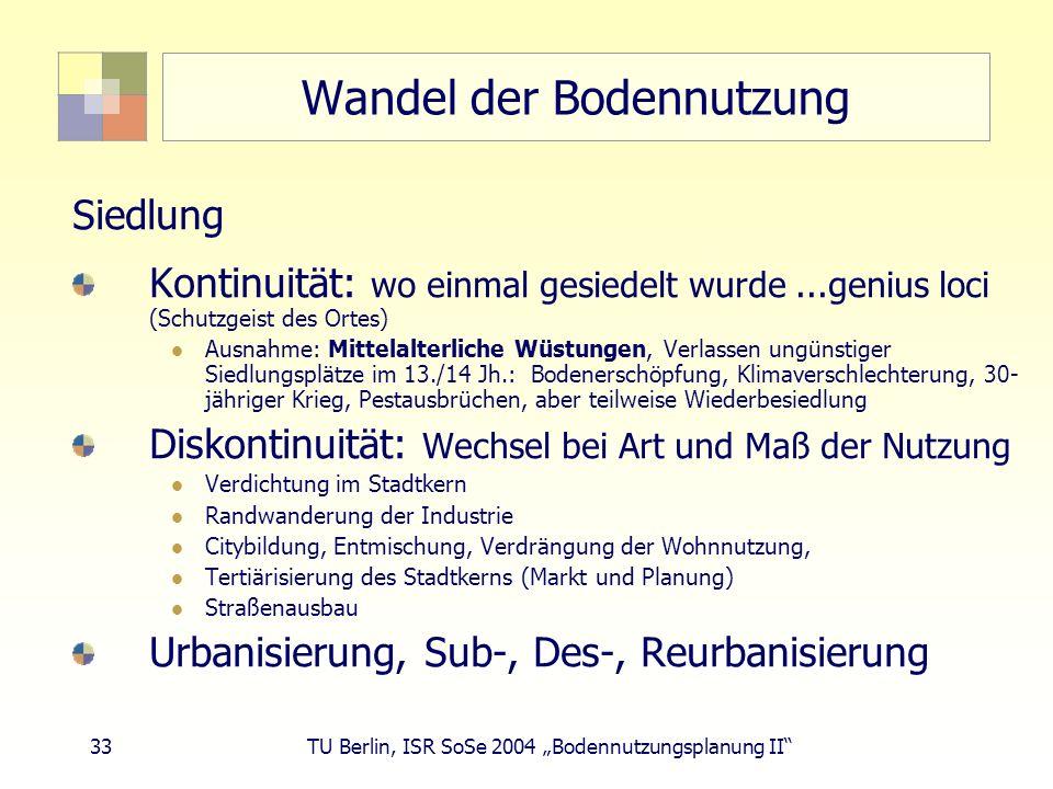 33 TU Berlin, ISR SoSe 2004 Bodennutzungsplanung II Wandel der Bodennutzung Siedlung Kontinuität: wo einmal gesiedelt wurde...genius loci (Schutzgeist