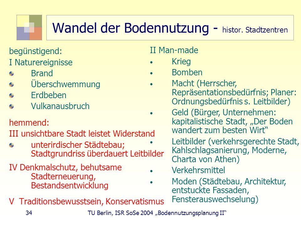 34 TU Berlin, ISR SoSe 2004 Bodennutzungsplanung II Wandel der Bodennutzung - histor. Stadtzentren begünstigend: I Naturereignisse Brand Überschwemmun