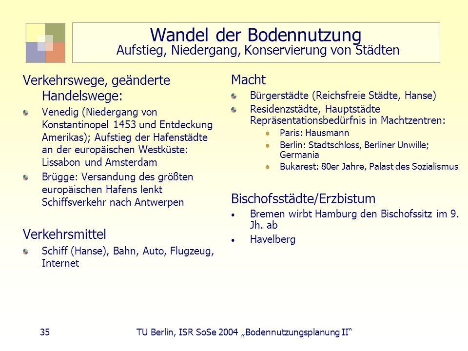 35 TU Berlin, ISR SoSe 2004 Bodennutzungsplanung II Wandel der Bodennutzung Aufstieg, Niedergang, Konservierung von Städten Verkehrswege, geänderte Ha