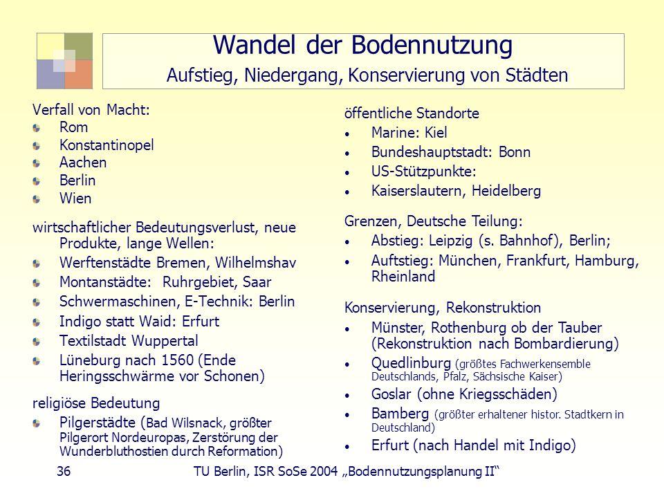 36 TU Berlin, ISR SoSe 2004 Bodennutzungsplanung II Wandel der Bodennutzung Aufstieg, Niedergang, Konservierung von Städten Verfall von Macht: Rom Kon