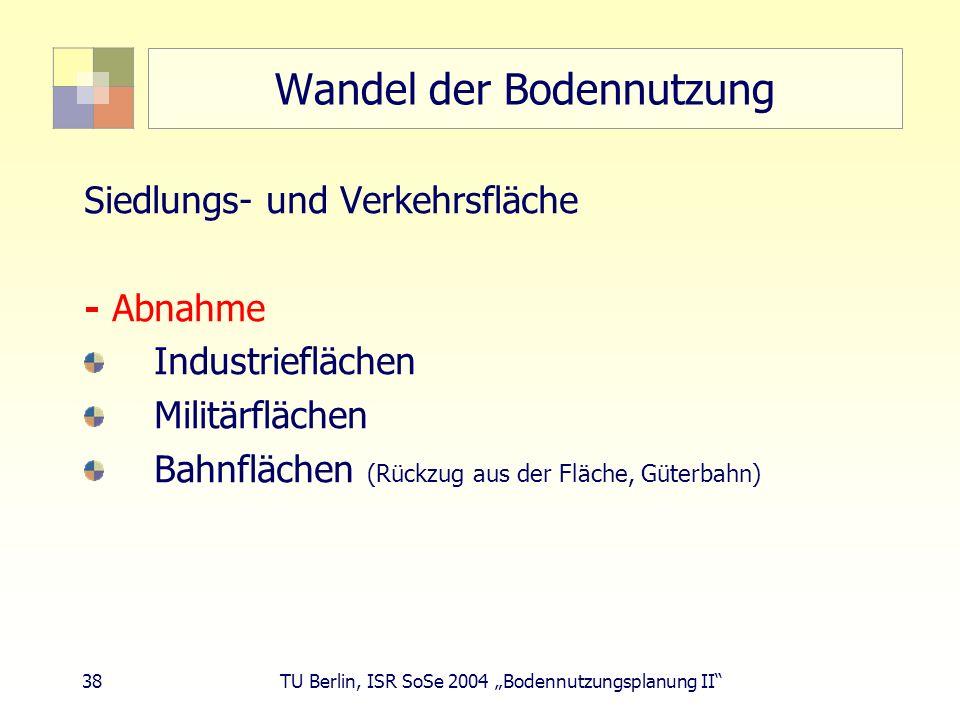 38 TU Berlin, ISR SoSe 2004 Bodennutzungsplanung II Wandel der Bodennutzung Siedlungs- und Verkehrsfläche - Abnahme Industrieflächen Militärflächen Ba