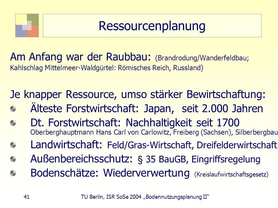 41 TU Berlin, ISR SoSe 2004 Bodennutzungsplanung II Ressourcenplanung Am Anfang war der Raubbau: (Brandrodung/Wanderfeldbau; Kahlschlag Mittelmeer-Wal