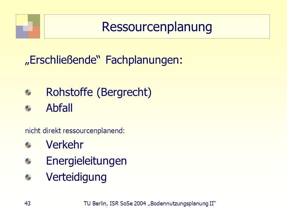 43 TU Berlin, ISR SoSe 2004 Bodennutzungsplanung II Ressourcenplanung Erschließende Fachplanungen: Rohstoffe (Bergrecht) Abfall nicht direkt ressource