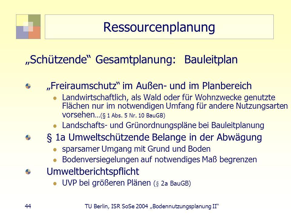 44 TU Berlin, ISR SoSe 2004 Bodennutzungsplanung II Ressourcenplanung Schützende Gesamtplanung: Bauleitplan Freiraumschutz im Außen- und im Planbereic