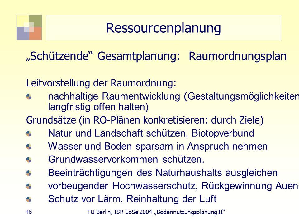 46 TU Berlin, ISR SoSe 2004 Bodennutzungsplanung II Ressourcenplanung Schützende Gesamtplanung: Raumordnungsplan Leitvorstellung der Raumordnung: nach