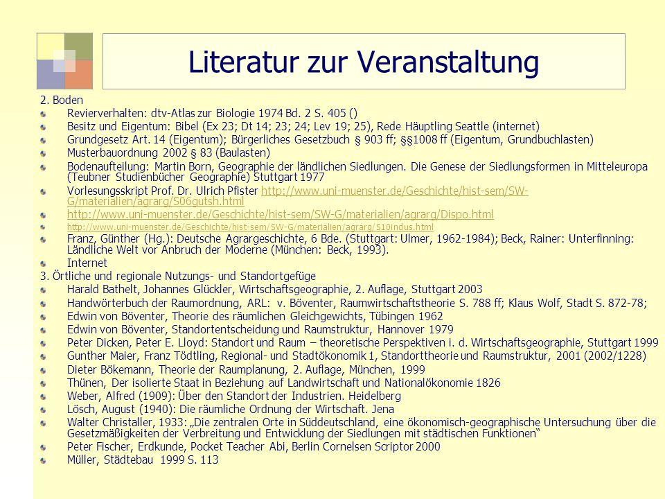 47 TU Berlin, ISR SoSe 2004 Bodennutzungsplanung II Literatur zur Veranstaltung 2. Boden Revierverhalten: dtv-Atlas zur Biologie 1974 Bd. 2 S. 405 ()