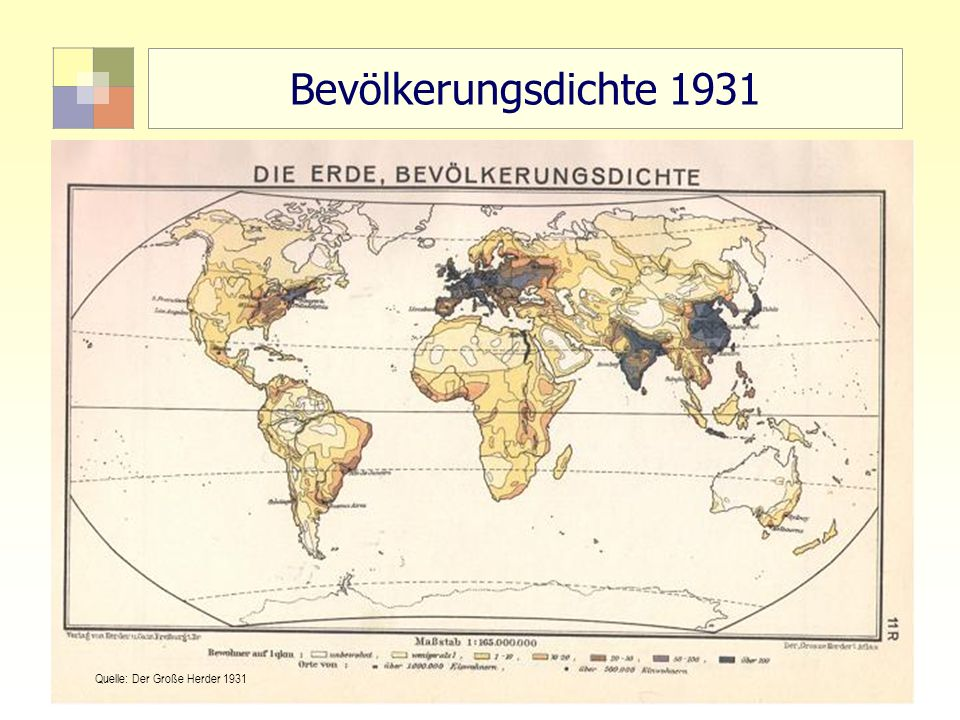 5 TU Berlin, ISR SoSe 2004 Bodennutzungsplanung II Bevölkerungsdichte 1931 Quelle: Der Große Herder 1931