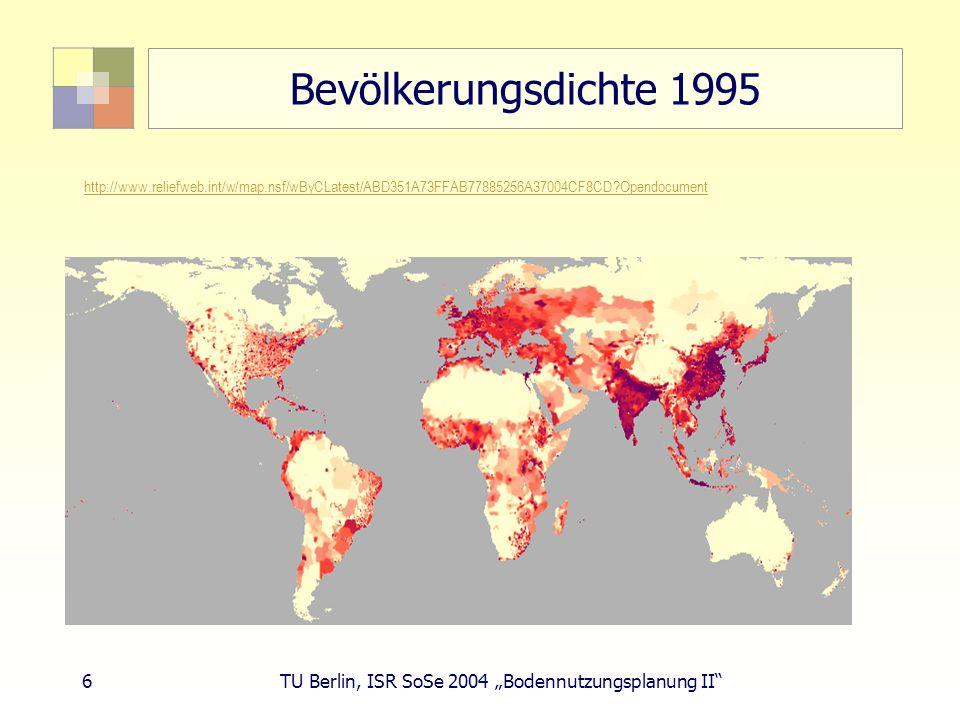 37 TU Berlin, ISR SoSe 2004 Bodennutzungsplanung II Wandel der Bodennutzung - Gegenwart Siedlungs- und Verkehrsfläche + Zuwachs Wohnbauflächen (Haushalte, Wohnflächen, Individualisierung) Einzelhandelsflächen (Kaufkraftsteigerung, Konsum) Freizeitflächen (Kaufkraftsteigerung) Sondernutzungen (Windkraft) Erholungsflächen (Wochenendhaus, Ferienhaus, Camping) Straßen, Flughäfen, Wasserstraßen
