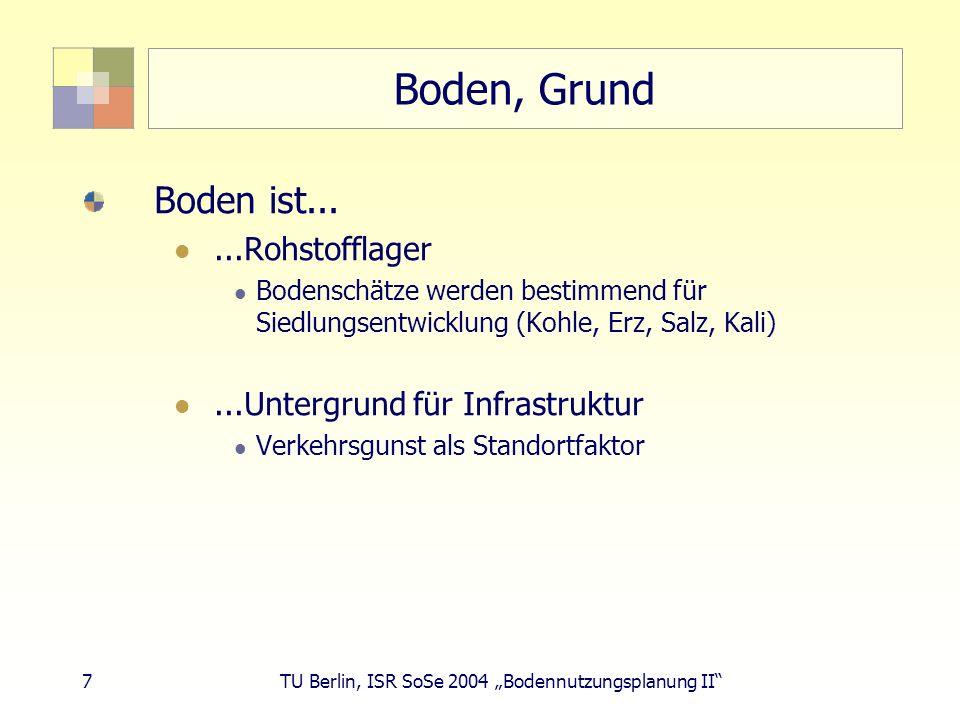 38 TU Berlin, ISR SoSe 2004 Bodennutzungsplanung II Wandel der Bodennutzung Siedlungs- und Verkehrsfläche - Abnahme Industrieflächen Militärflächen Bahnflächen (Rückzug aus der Fläche, Güterbahn)