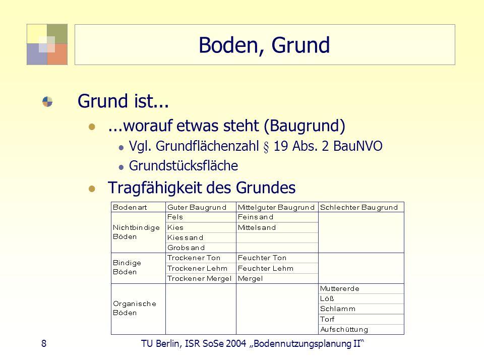 8 TU Berlin, ISR SoSe 2004 Bodennutzungsplanung II Boden, Grund Grund ist......worauf etwas steht (Baugrund) Vgl. Grundflächenzahl § 19 Abs. 2 BauNVO