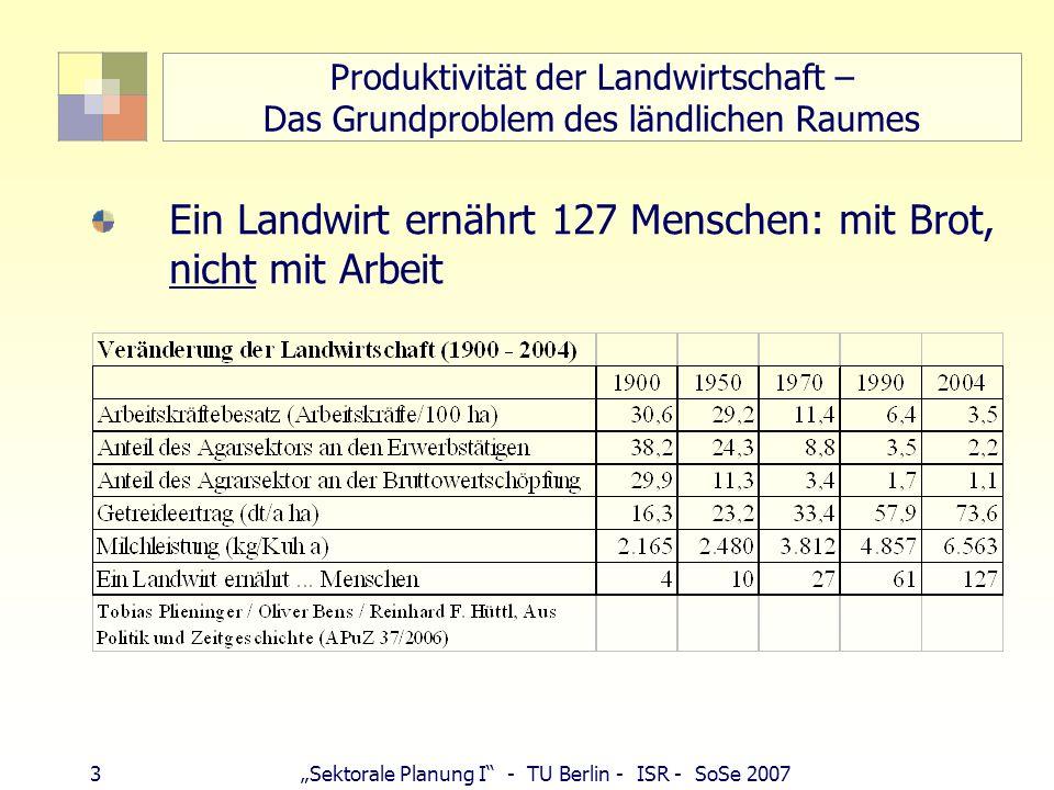 4Sektorale Planung I - TU Berlin - ISR - SoSe 2007 Ausweg aus der Krise des LR (in Bbg) Land- und Forstwirtschaft, Ökolandbau Brandenburg Spitzenreiter mit 9,7 % der Landwirtschaftsfläche Erneuerbare Energien (Landwirte zu Energiewirten; Windkraft 2.