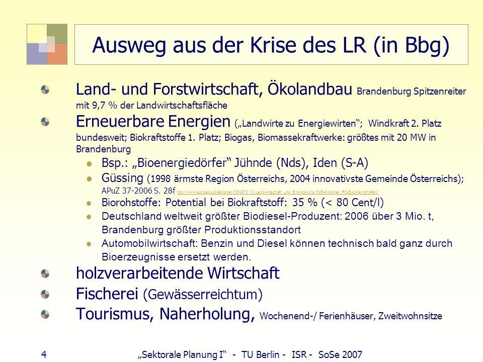 5Sektorale Planung I - TU Berlin - ISR - SoSe 2007 Historische Rahmenbedingungen Flurformen o Einödflur (Altsiedelgebiete, Allgäu und Norddeutschland, Westfalen) o Gewannflur (unterschiedliche Bodenfruchtbarkeit, Besitzzerstückelung/ Erbrecht) o Blockflur o Hufe (Kolonisationsgebiete: Rodephase 10-12.