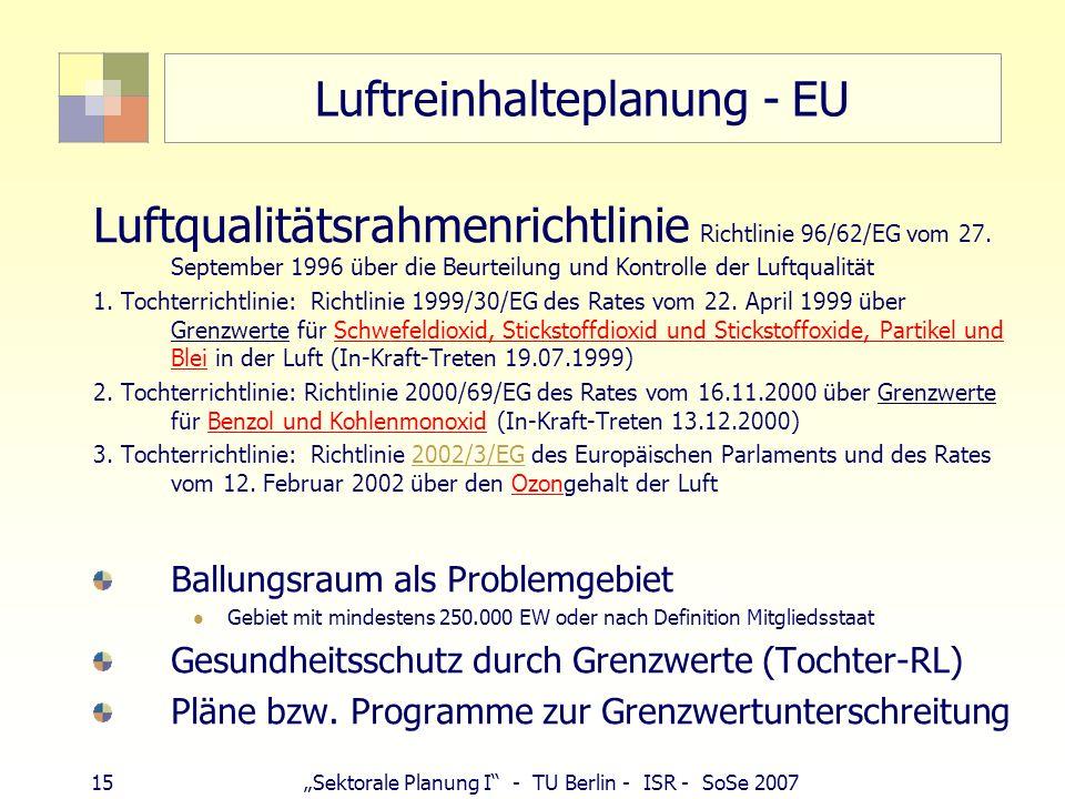 14Sektorale Planung I - TU Berlin - ISR - SoSe 2007 Schadstoffentwicklung