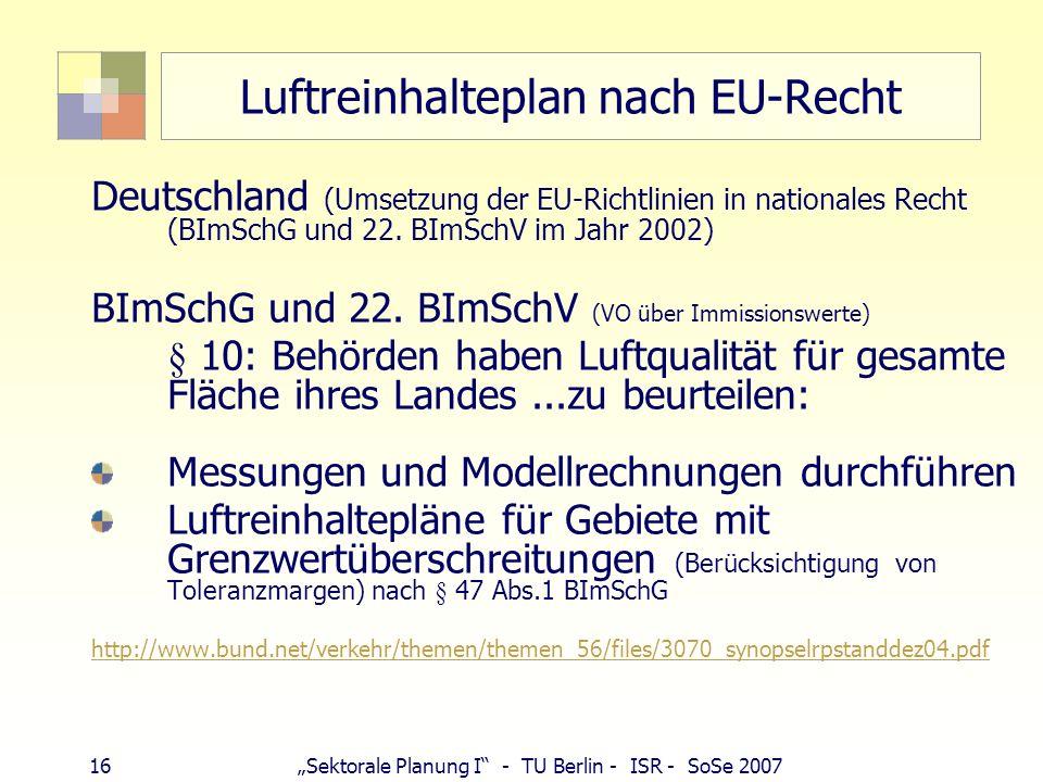15Sektorale Planung I - TU Berlin - ISR - SoSe 2007 Luftreinhalteplanung - EU Luftqualitätsrahmenrichtlinie Richtlinie 96/62/EG vom 27. September 1996