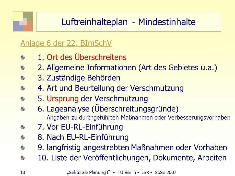 17Sektorale Planung I - TU Berlin - ISR - SoSe 2007 Luftreinhalteplan § 47 BImSchG Luftreinhalteplan: bei Überschreiten der Immissionsgrenzwerte gem.