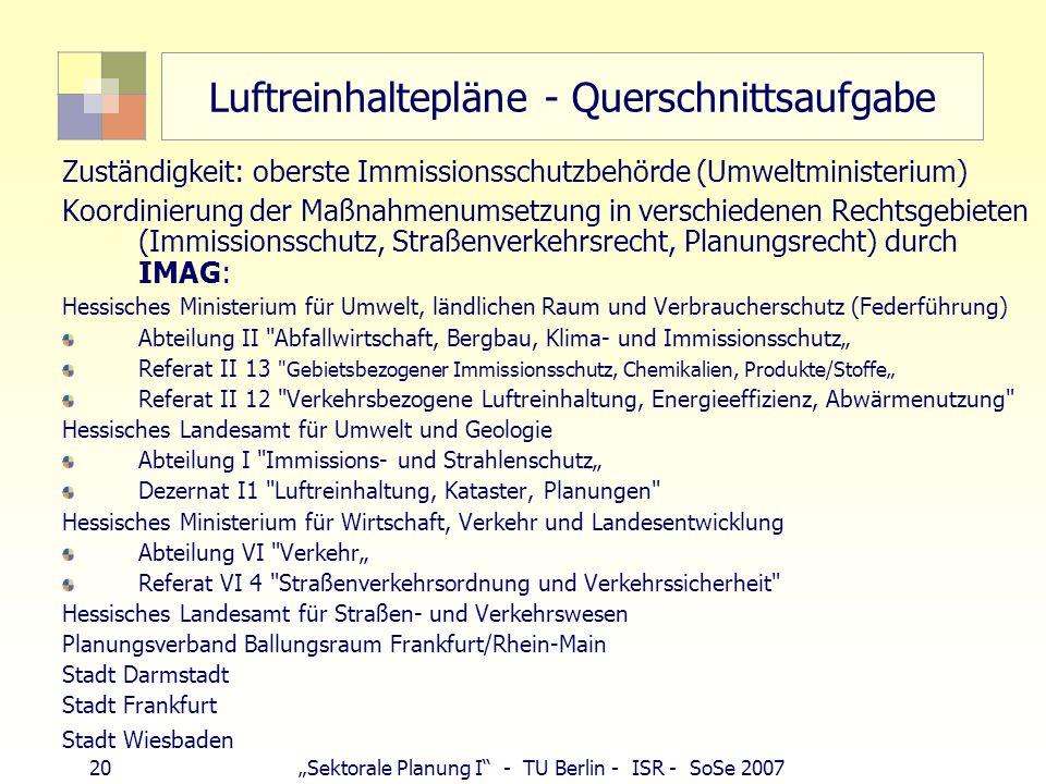 19Sektorale Planung I - TU Berlin - ISR - SoSe 2007 Luftreinhalteplan nach EU-Recht 22. BImSchV § 1 Begriffsbestimmungen Nr. 7: Definition Ballungsrau