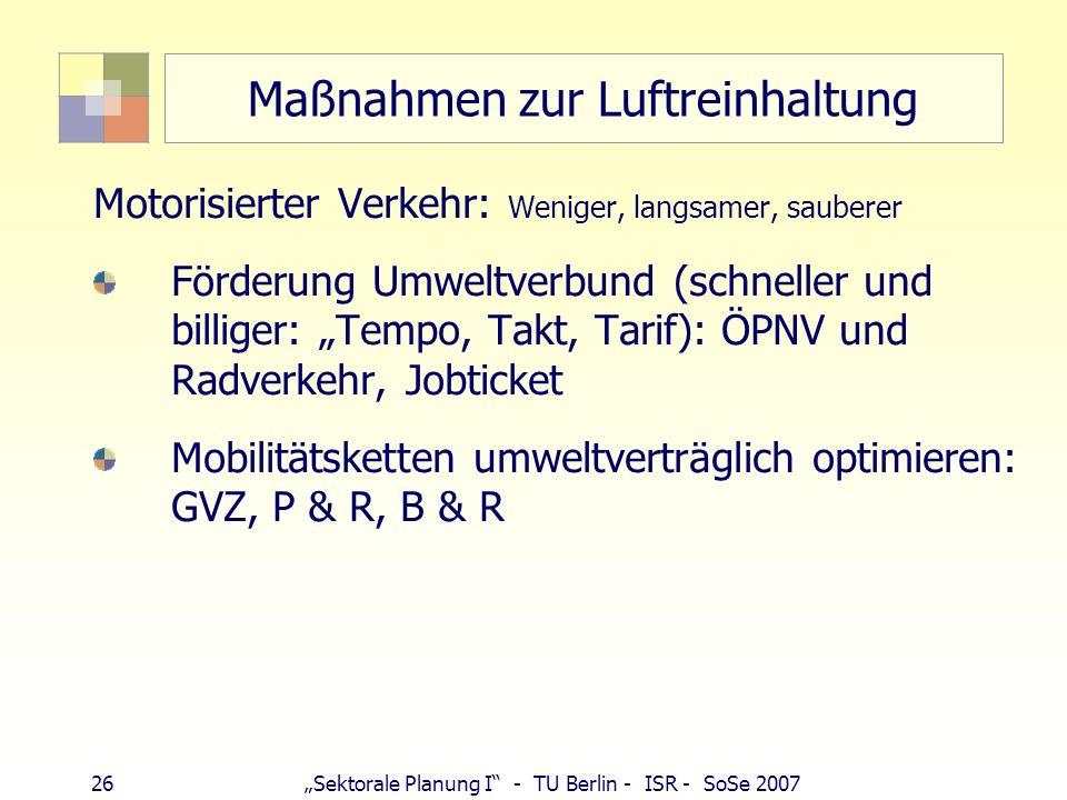 25Sektorale Planung I - TU Berlin - ISR - SoSe 2007 Maßnahmen zur Luftreinhaltung Städtebau, Bauleitplanung: Ventilationsbahnen (Grünzüge), Frischluft