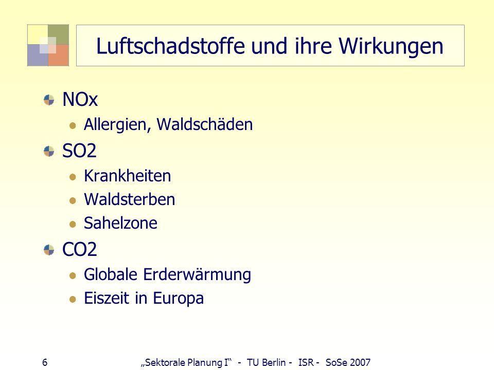 5Sektorale Planung I - TU Berlin - ISR - SoSe 2007 Luftschadstoffe und ihre Wirkungen