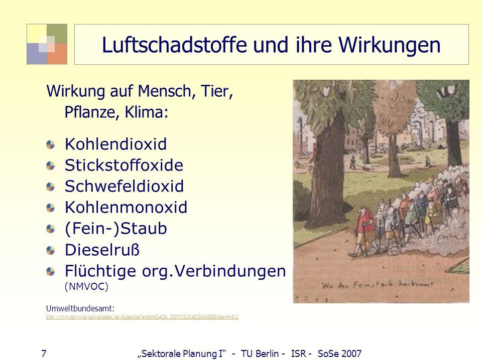 6Sektorale Planung I - TU Berlin - ISR - SoSe 2007 Luftschadstoffe und ihre Wirkungen NOx Allergien, Waldschäden SO2 Krankheiten Waldsterben Sahelzone