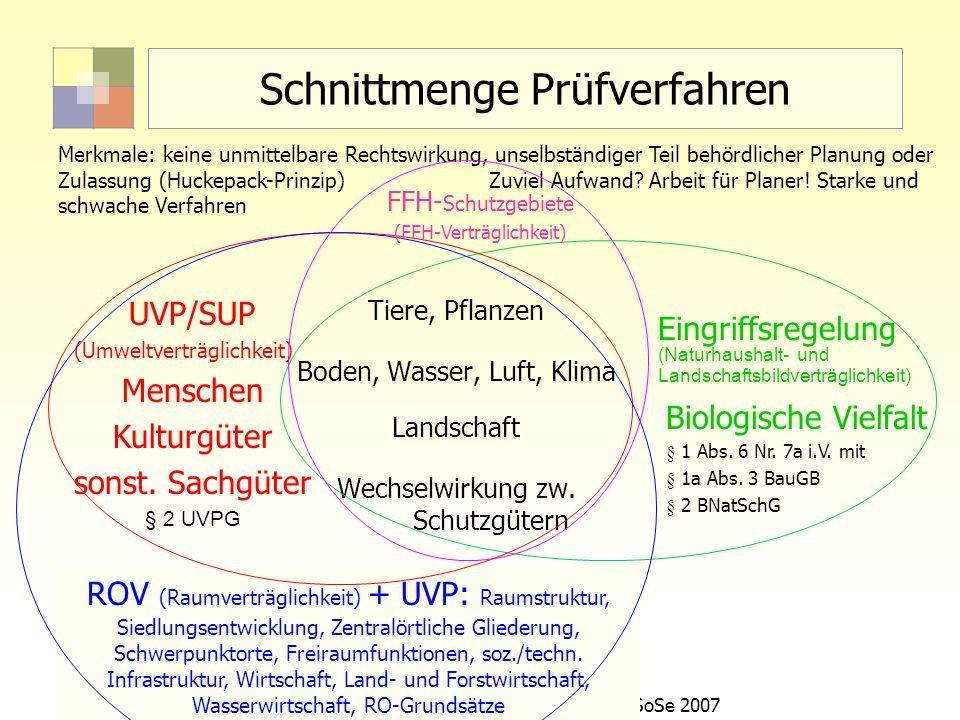 16Sektorale Planung I - TU Berlin - ISR - SoSe 2007 ROV (Raumverträglichkeit) + UVP: Raumstruktur, Siedlungsentwicklung, Zentralörtliche Gliederung, S