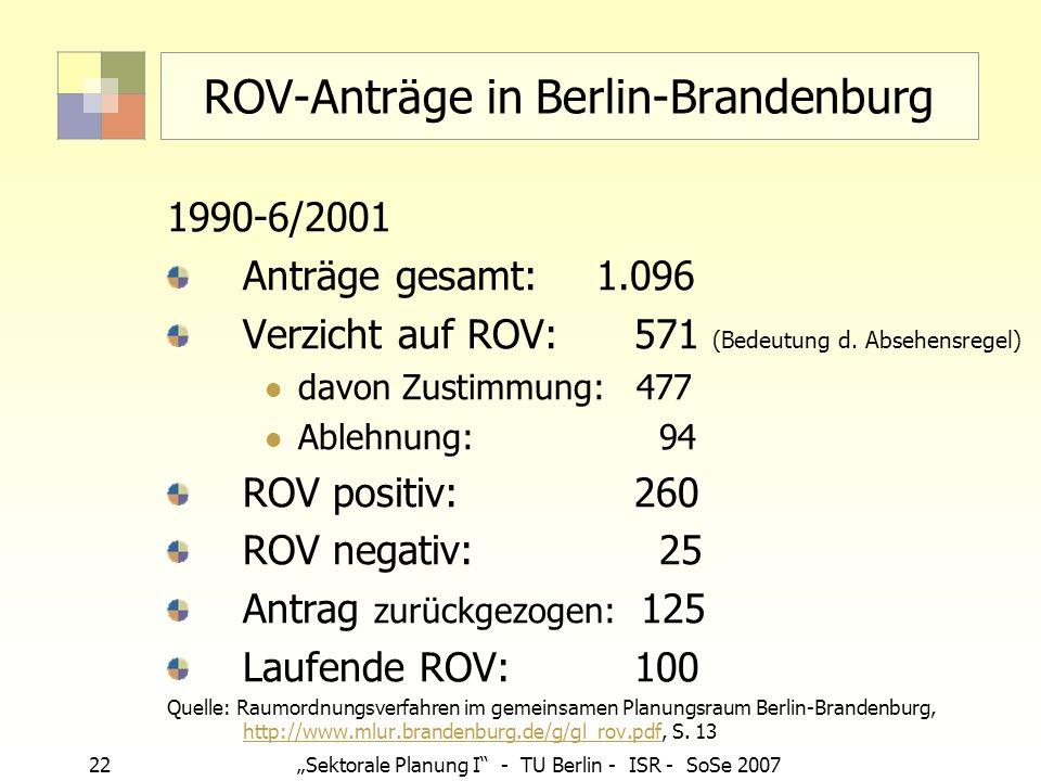 22Sektorale Planung I - TU Berlin - ISR - SoSe 2007 ROV-Anträge in Berlin-Brandenburg 1990-6/2001 Anträge gesamt: 1.096 Verzicht auf ROV: 571 (Bedeutu