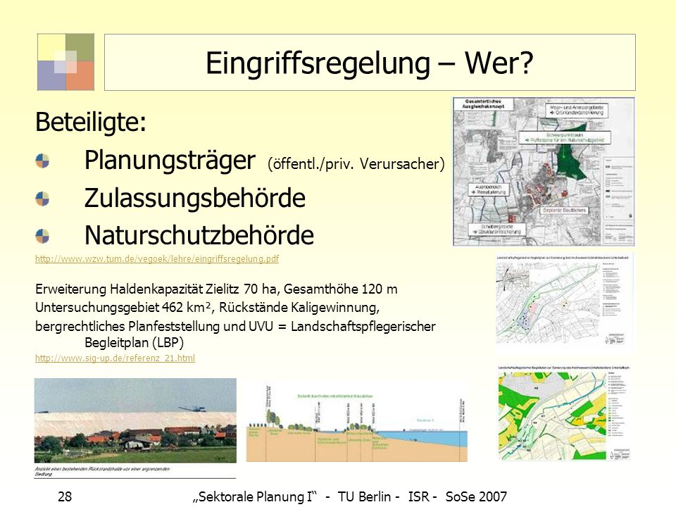 28Sektorale Planung I - TU Berlin - ISR - SoSe 2007 Eingriffsregelung – Wer? Beteiligte: Planungsträger (öffentl./priv. Verursacher) Zulassungsbehörde