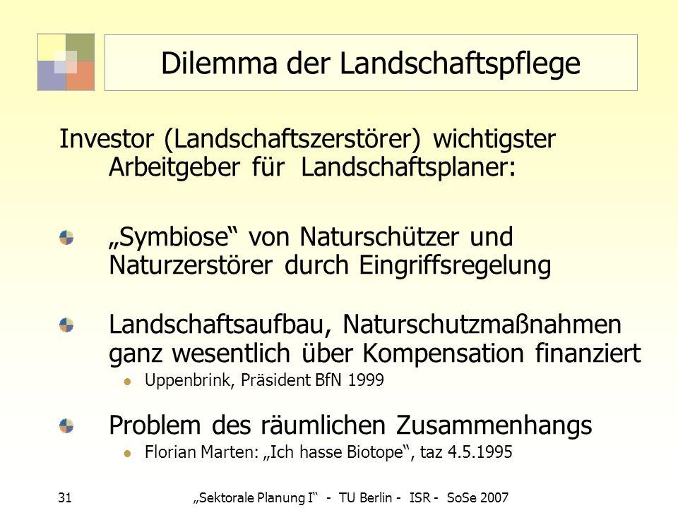 31Sektorale Planung I - TU Berlin - ISR - SoSe 2007 Dilemma der Landschaftspflege Investor (Landschaftszerstörer) wichtigster Arbeitgeber für Landscha