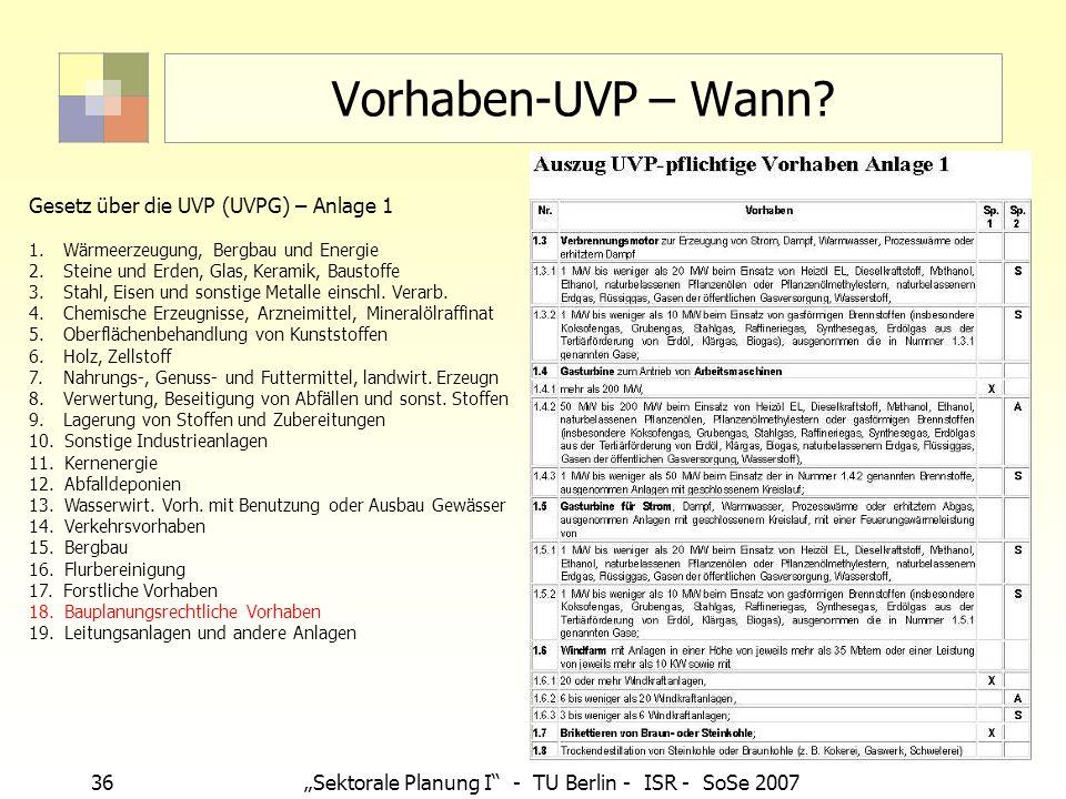 36Sektorale Planung I - TU Berlin - ISR - SoSe 2007 Vorhaben-UVP – Wann? Gesetz über die UVP (UVPG) – Anlage 1 1. Wärmeerzeugung, Bergbau und Energie