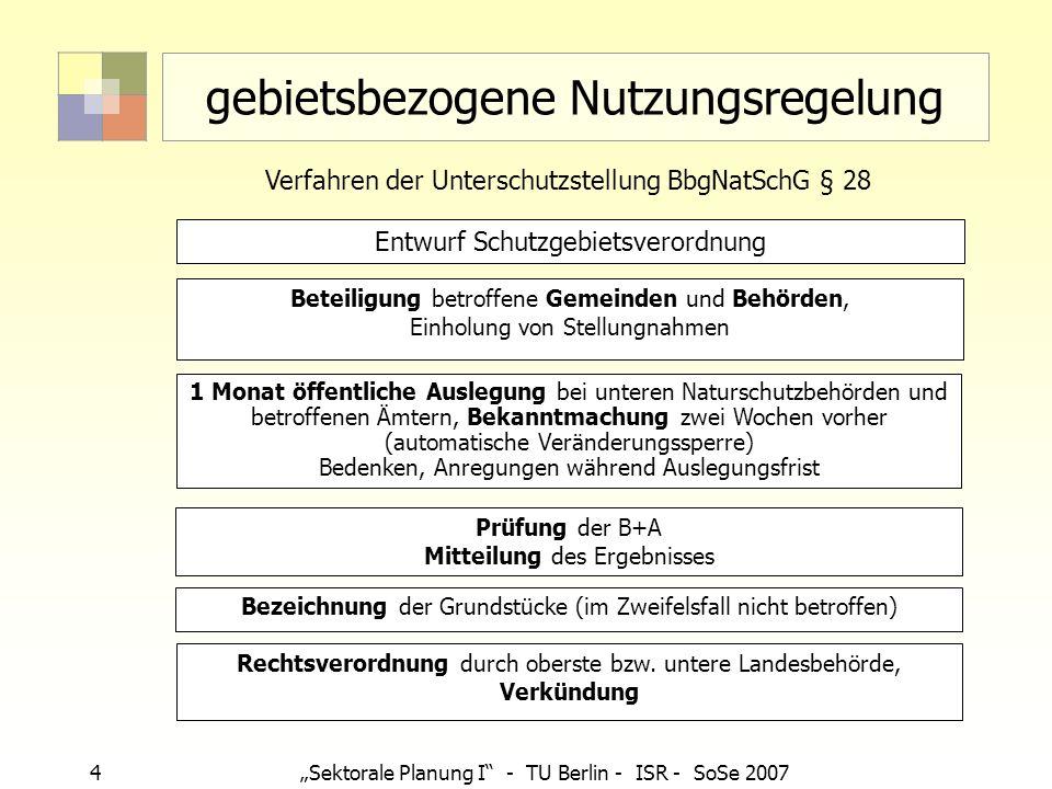 4Sektorale Planung I - TU Berlin - ISR - SoSe 2007 gebietsbezogene Nutzungsregelung Beteiligung betroffene Gemeinden und Behörden, Einholung von Stell