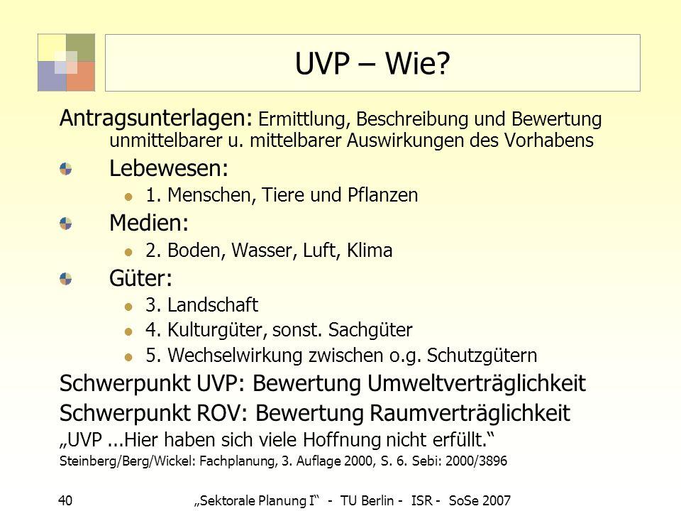 40Sektorale Planung I - TU Berlin - ISR - SoSe 2007 UVP – Wie? Antragsunterlagen: Ermittlung, Beschreibung und Bewertung unmittelbarer u. mittelbarer