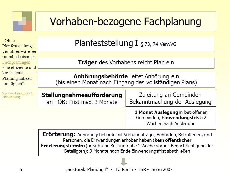 5Sektorale Planung I - TU Berlin - ISR - SoSe 2007 Vorhaben-bezogene Fachplanung Träger des Vorhabens reicht Plan ein Stellungnahmeaufforderung an TÖB