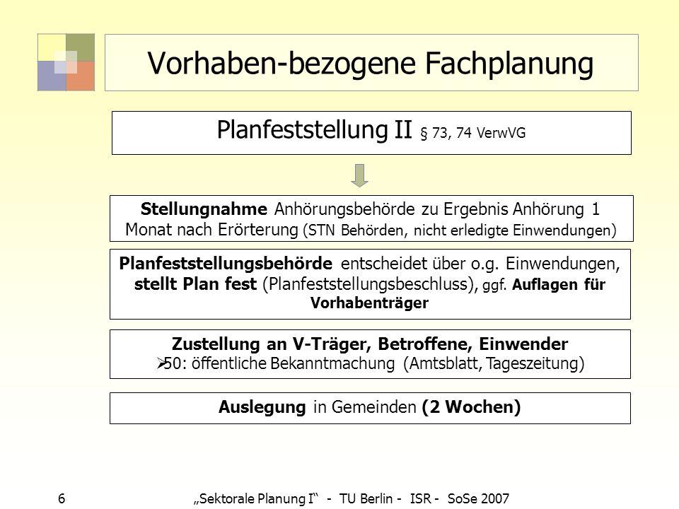 6Sektorale Planung I - TU Berlin - ISR - SoSe 2007 Vorhaben-bezogene Fachplanung Planfeststellungsbehörde entscheidet über o.g. Einwendungen, stellt P