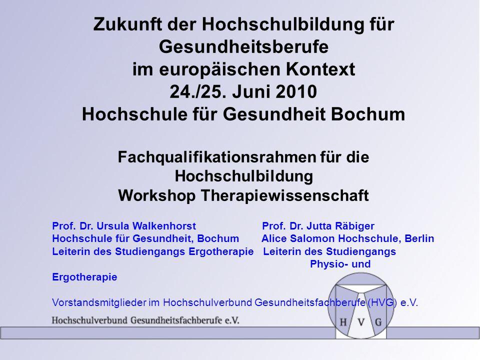 Zukunft der Hochschulbildung für Gesundheitsberufe im europäischen Kontext 24./25. Juni 2010 Hochschule für Gesundheit Bochum Fachqualifikationsrahmen