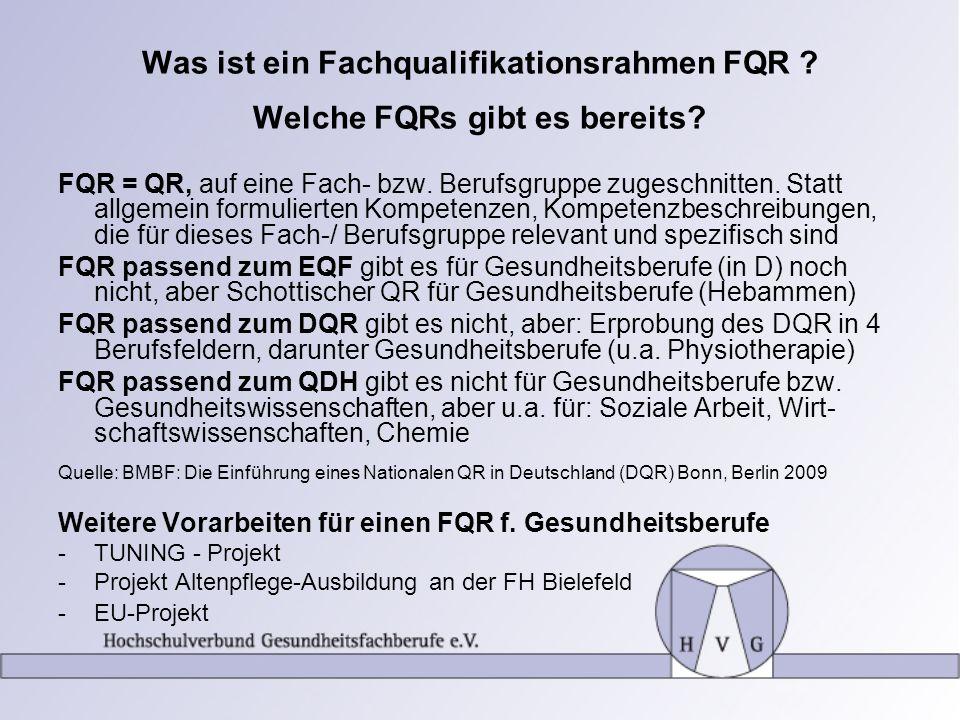 Was ist ein Fachqualifikationsrahmen FQR ? Welche FQRs gibt es bereits? FQR = QR, auf eine Fach- bzw. Berufsgruppe zugeschnitten. Statt allgemein form